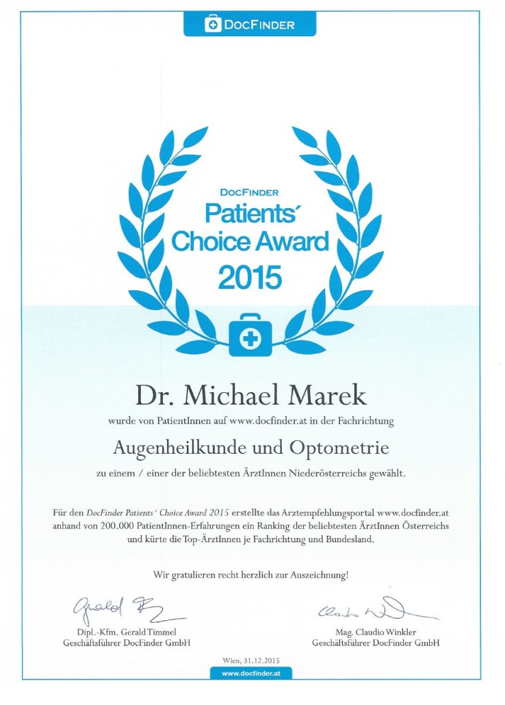 DocFinder Patient´s Choise Award 2015